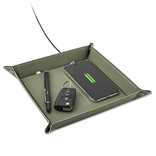 4smarts Taschenleerer mit Wireless Charger Ladepad 15W Praktische Aufbewahrungsbox & Schnelles Kabelloses Ladegerät für Handys, Uhren, Schlüssel, Geldbörsen, Münzen, TWS-Kopfhörer - Grün