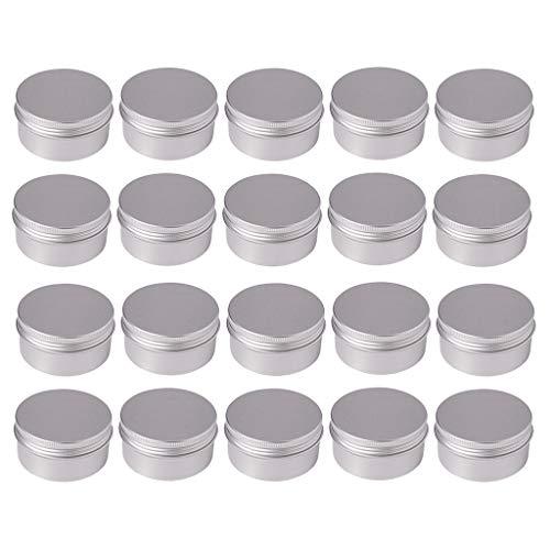 P Prettyia 20 Piece 80ml Aluminiumdosen rund Vorratsdosen mit Schraubdeckel Metalldosen Reisedosen Kosmetik Nachfüllbehälter