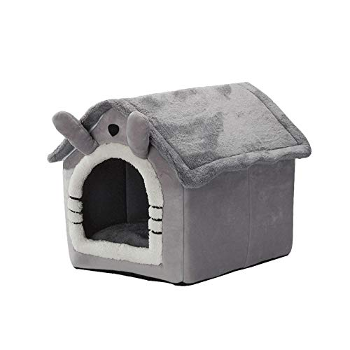 duhe189014 Cuccia per Gatti Lavabile per Esterni casa per Animali Pieghevole Calda e Morbida per Gatti o Conigli Grigio