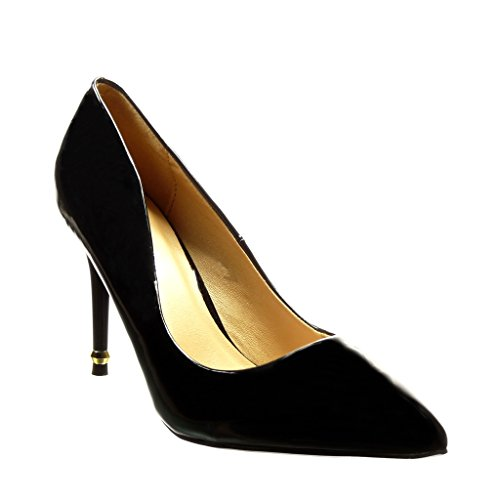 Angkorly - Damen Schuhe Pumpe - Stiletto - Sexy - golden - Patent Stiletto high Heel 9.5 cm - Schwarz YX-21 T 38