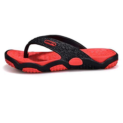 bjyxszd Zapatillas de Estar por Casa Ultraligera,Zapatos de Piscina Chanclas de PlayaZapatos de Playa para Hombre de Primavera y Verano, Zapatos de Playa, Masaje de pie de pellizco Anti-Arena-Rojo_44