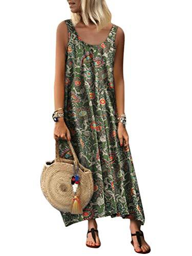 Minetom Übergröße Maxikleid Dame Strand Sommerkleid Lange Kleider Ärmellos Partykleid Festliches Kleid große größen A Grün 46