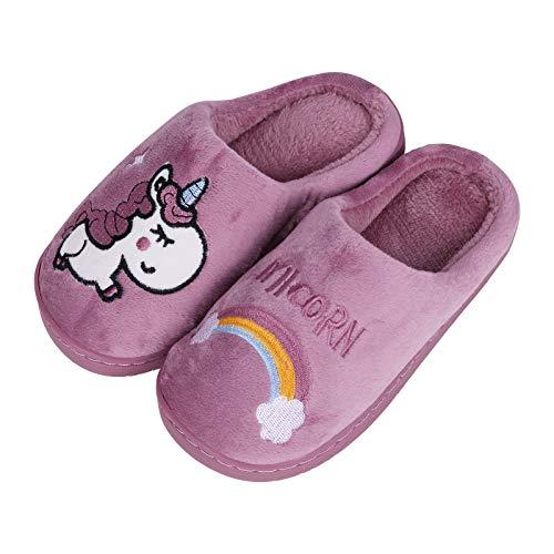 HommyFine Hiver Pantoufles en Coton Peluche Chaussons Maison Anti-dérapant Chaud Slippers Chaussures avec Bande élastique pour Fille Garcon (Licorne Violet, 24)