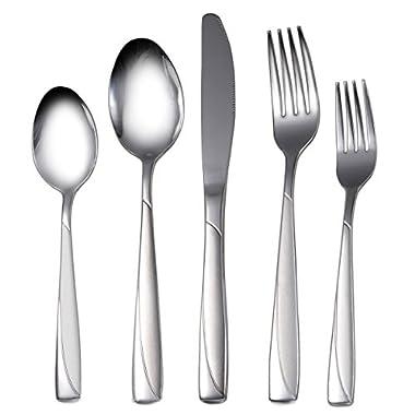 Silverware Set, 20-Piece Stainless Steel Silverware Flatware Set Service for 4, High-grade Cutlery for Kitchen Hotel Restaurant Wedding Party, Mirror Finish Dishwasher Safe Silverware Gift Box