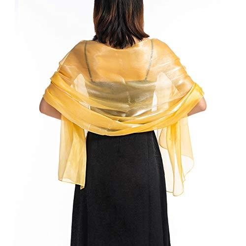 XKMY Chal de novia elegante de boda de 170 x 70 cm, color gris oscuro, vestido de noche de fiesta, abrigo de boda, mantón de color puro, bufanda larga (color de color amarillo, tamaño: talla única)