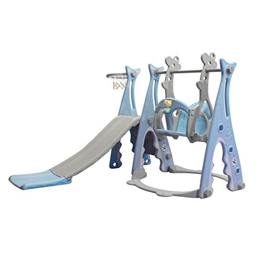 3 in 1 Kids Slide and Swing Set with Basketball Hoop,Baby Playground Equipment Set Climber for Indoor Outdoors Use,Boys Girls Multifunctional Toys for Backyard and Indoor Outdoor (Blue)
