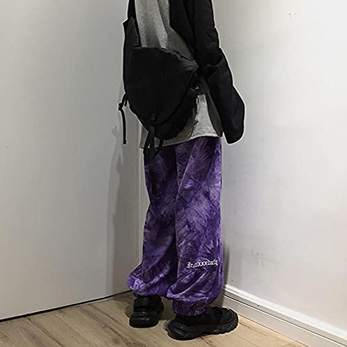 LKHJ Pantalones de chándal de Contraste con Cintura elástica, Ropa de Calle para Hombre y Mujer, Pantalones Coreanos Harajuku Punk Hip Hop, Pantalones de chándal, Ropa-Púrpura_Metro