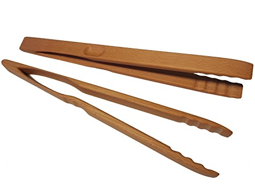 BierEx XXL Profi Grillzange aus Holz 32cm 320mm lang Buche Holzgriff Buchenholz Mehrzweckzange Pfanne Grill Multizange Küchenzange auswählbar 30 40 46 60 74 80 88 cm Zangen