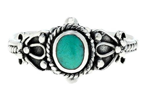WINDALF Zarter Ring ROXIA h: 0.9 cm Türkis 925 Sterlingsilber (Silber, 52 (16.6))