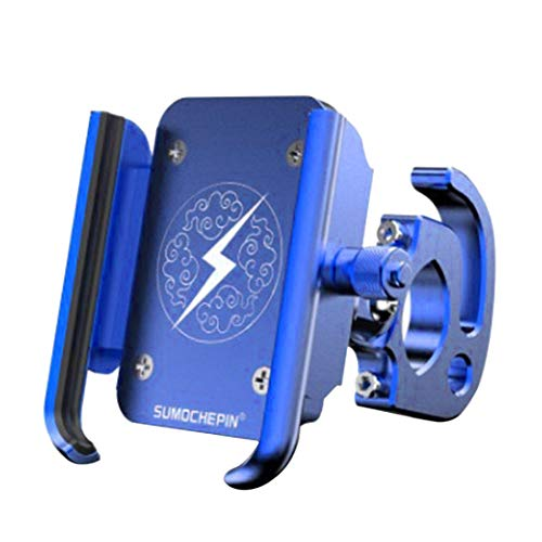 Mountain Bike CNC Soporte para teléfono móvil Motocicleta Coche eléctrico Universal Rotary Navigation Soporte de teléfono móvil de aleación de Aluminio-Azul