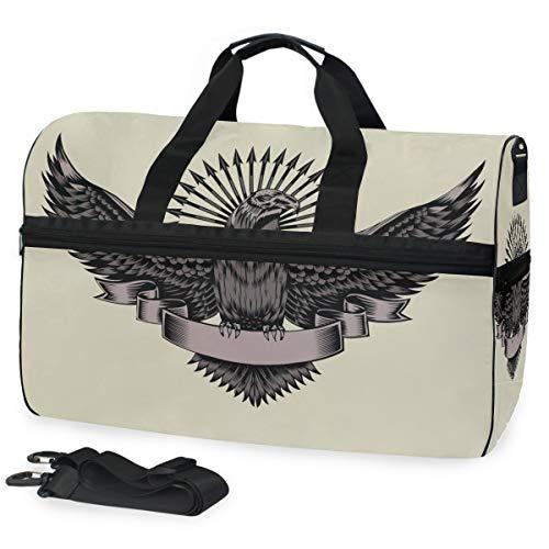 Grand sac de sport avec compartiment à chaussures, motif aigle, style indien, pour homme et femme