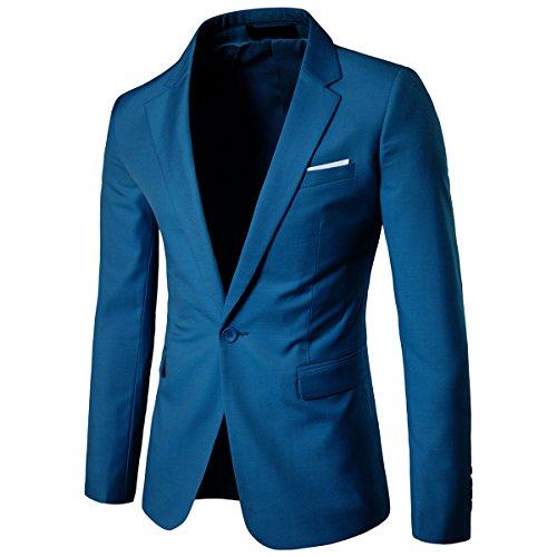 Allthemen Sakko Herren Slim Fit Anzugjacke EIN Knopf Sakko für Business Blau Medium