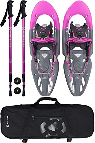 Winterial Yukon Snowshoes 25 Inch Lightweight All Terrain Women's Pink Snow Shoes with Carry Bag and Adjustable Poles