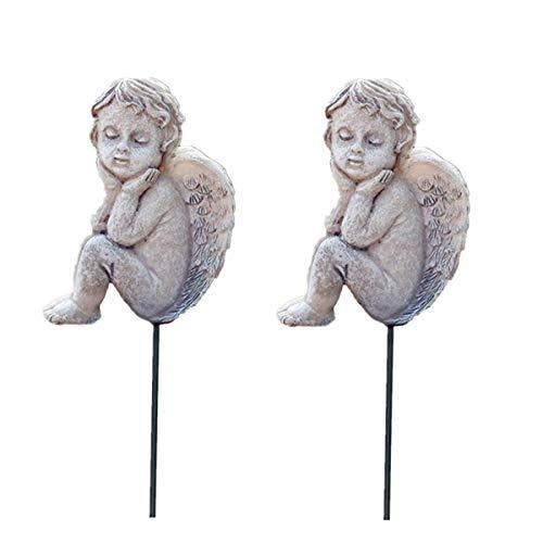 MUAMAX Decorative Angel Stakes 2 Packs Miniature Angel Figurines Fairy Garden Accessories Flowerpot Decor Terrarium Ornaments