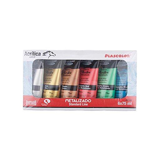 Plascolor PP188 - Pack de 6 tubos de pintura acrílica, multicolor
