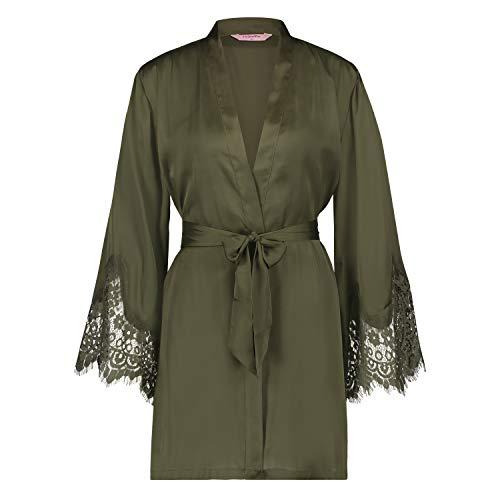 HUNKEMÖLLER Damen Kimono Lace Satin grün M/L