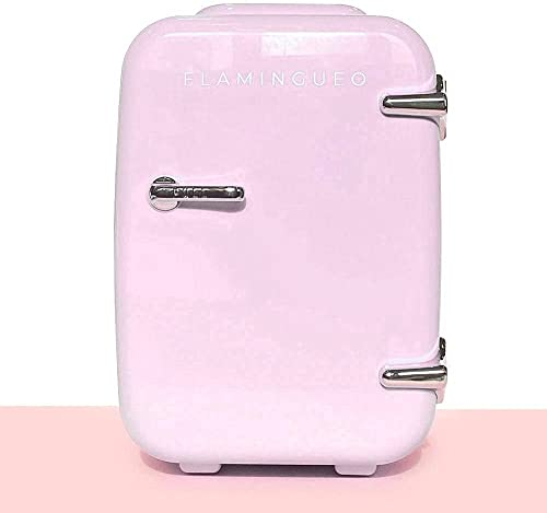 Flamingueo Mini Frigo de Chambre - Petit Frigo 4L, Mini Frigo Cosmetique, Frigo Portable, Réfrigérateur Électrique Po...