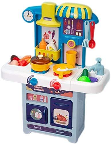 Abcoll Juego de Juguetes de Cocina Happy Little Chef Que Finge Jugar con Juguetes Juego de Cocina Juguete Ligero con Sonido Agua circulante Juguete Accesorios de Cocina de Juguete-Azul