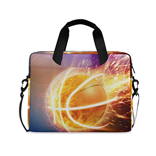 XIXIKO Burning Basketball Sport Laptop Bag Expandable Trolley Briefcase Bag for Women Men with Detachable Strap for Work Trip Business Travel iPad MacBook