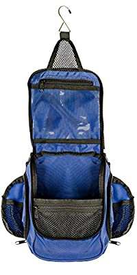 Compact Hanging Toiletry Bag & Organizer   Water Resistant, Mesh Pockets Blue