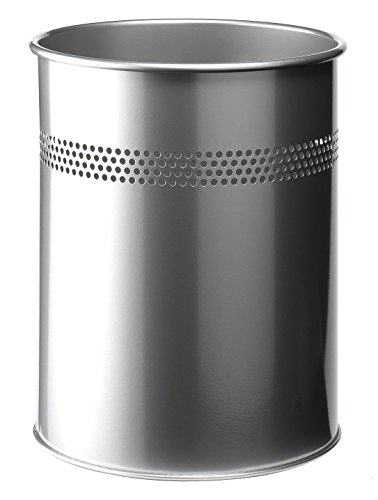 Durable 330023 Papierkorb Metall rund, 15 Liter, Perforation 30 mm, silber
