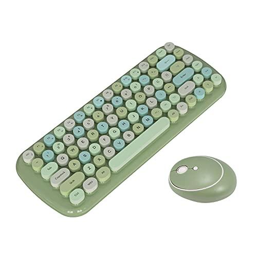 Wowlela Teclado Digital inalámbrico para Oficina Steampunk Teclado inalámbrico Bluetooth a Prueba de Agua Retro Colorido 84 Teclas Redondas Teclado para Cuaderno de Oficina (Green)