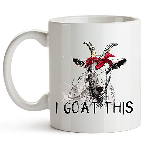 YouNique Designs I Goat This Mug, 11 Ounces, Goat Mug for Goat Lovers, Crazy Goat Lady Cup