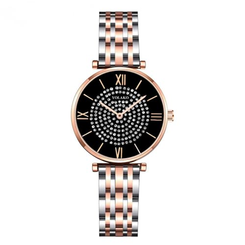 Reloj de pulsera de cuarzo con esfera redonda de plata y correa de acero inoxidable con diseño de diamante