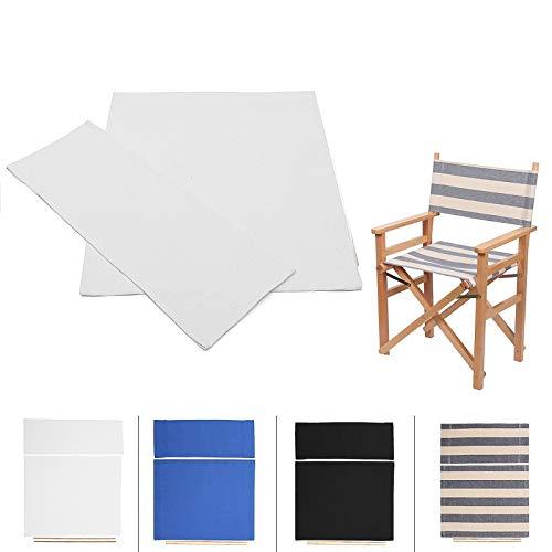 JIAOAOO 1-Paar Sitz Abdeckung, Casual Directors Stühle Abdeckung Kit Ersatz Canvas Sitz Abdeckung Hocker 2 Größe (Weiß)