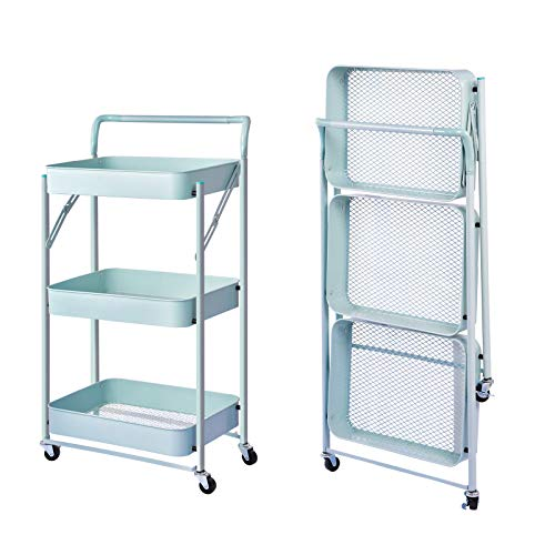 Price comparison product image Houssem 3 Tier Foldable Rolling Utility Cart,  Folding Storage Art Cart,  Kitchen Cart Storage Shelves with Roller Wheels and Handles,  Storage Cart for Kitchen,  Coffee Bar,  Storage