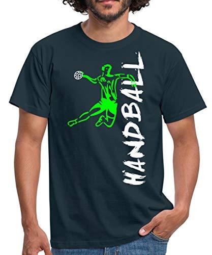 Handball Handballer Sprungwurf Seitlich Männer T-Shirt, M, Navy