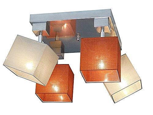 Plafonnier Wero Design Vigo-022 A (mélange orange/crème) - Plafonnier - 4 ampoules - Métal - Tissu - Chromé