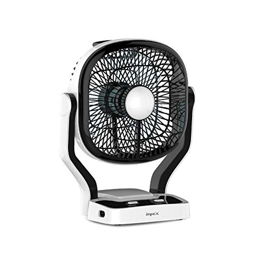 Impex Breeze-D1 Rechargeable Fan with LED Light Dual Speed Mode 3 Blade Table Fan (Black)