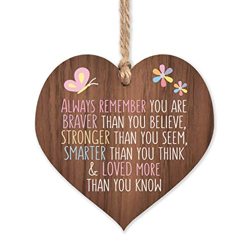 Always remember you are braver | best friends wooden hanging heart | sentimental inspirational gift for cheer up women | friendship present uk | her girls woman