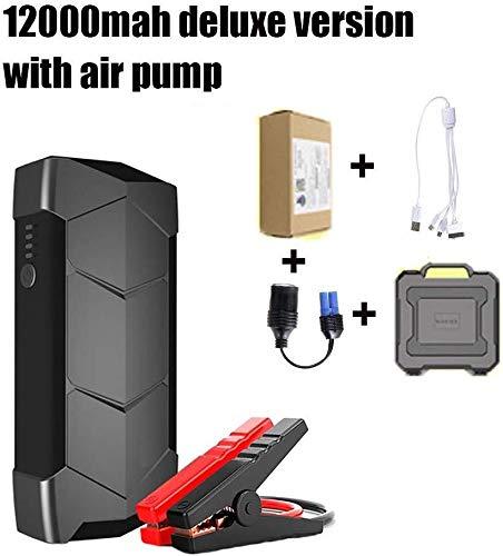 Arrancador de coche 12000mah Portátil Coche Jump Starter Pack, Clip De Emergencia Batería De Refuerzo Del Cargador De Batería De Alimentación Con Batería Inteligente/Compresor De Aire