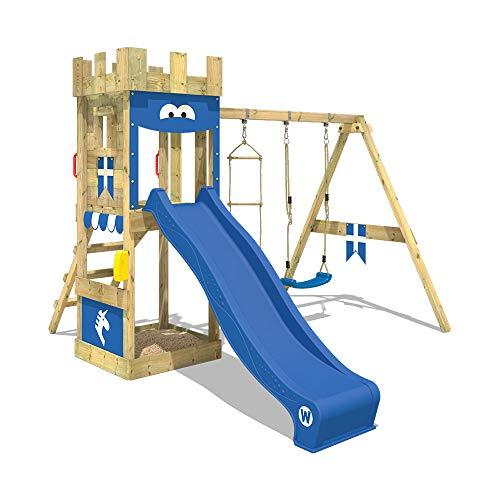 WICKEY Klettergerüst KnightFlyer - Spielturm mit Schaukel, Strickleiter, Kletterleiter, Sandkasten und blauer Wellenrutsche