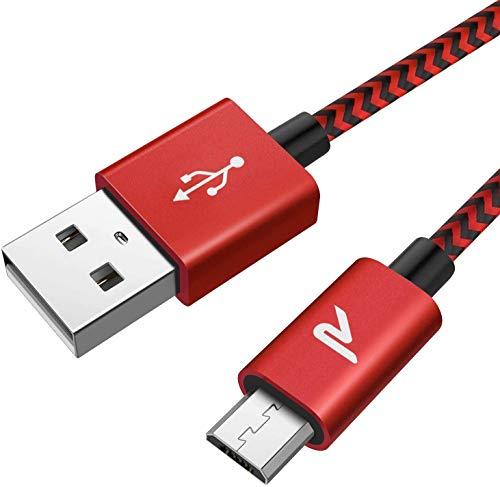 Rampow Micro USB Ladekabel, 2M/ 1-Stück, mit Nylon geflochtenes Micro USB Schnellladekal geeignet für Android Smartphones, Samsung Galaxy, HTC, Huawei, Sony, Nexus, Nokia, Kindle und mehr - Rot