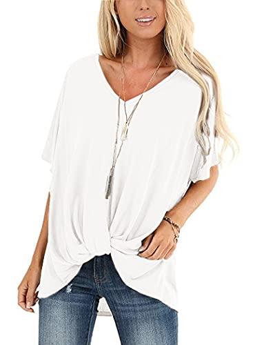 UNibelle Maglietta Donna Tee T-Shirt Maglietta Tinta Unita Eleganti V-Collo Manica Corta Casual Camicetta