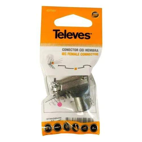 Televes 4375 437501 CONECT. TV Hembra, Gris y plata