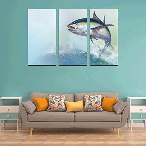WYYWCY 3 Panel Malerei Leinwand Wand Tiefsee Fisch Thunfisch Drucke auf Leinwand Mädchen Wandmalereien Gemälde Leinwand Wandkunst für Zuhause Wohnzimmer Schlafzimmer Badezimmer Wanddekor Poster