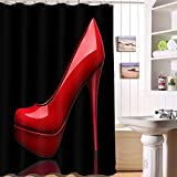 Sexy Frauen Red High Heel Duschvorhang Schönheit Mode Rot Leder Schuhe Dekorative Tuch Bad Duschvorhang Polyester Wasserdicht Gürtel Haken Stoff Vorhang,180 * 180