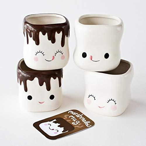 Formemory Marshmallow Mugs, Cute Coffee Mugs Hot Chocolate Mug Milk Ceramic Coffee Cup Mini Marshmallow Smile Expression 4-Piece Set