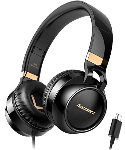 USB C Headphones Over Ear, Acessorz Type-c Wired Over-Ear Noise Cancelling HiFi Stereo Headphones Earphones w/Mic for iPad Pro 2018, New MacBook, Dell Xps, Google and Samsung Type-c Devices - Black