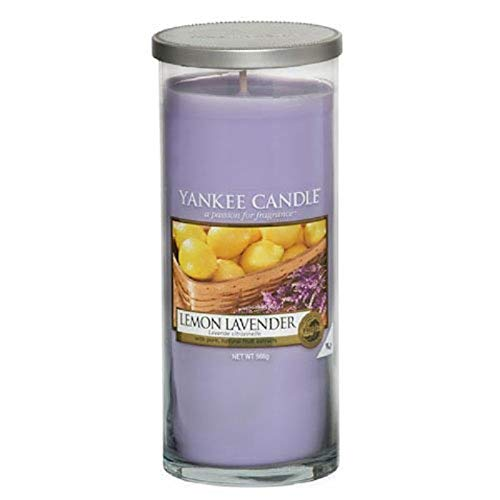 Yankee Candle vela de pilar grande, Lavanda de limón, crema, lila