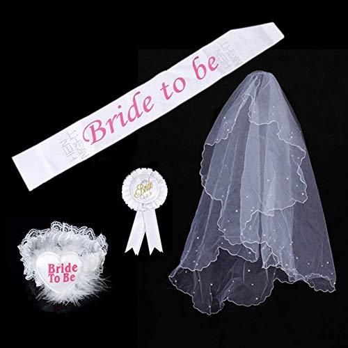 SwirlColor Un insieme di 4 nuziale Kit White Party sposa di essere partito di Sash giarrettiera Veil Badge (4 Pcs)