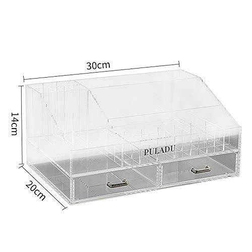 Slivy High Capacity Acryl Make-up Organizer mit 2 Schubladen Aufsatz- Schmuck Kosmetikhalter 22 Lippenstift-Anzeigen-Speicher-Fall for Frisierkommode Desktop 25 Fächer, schwarz (Color : Clear)