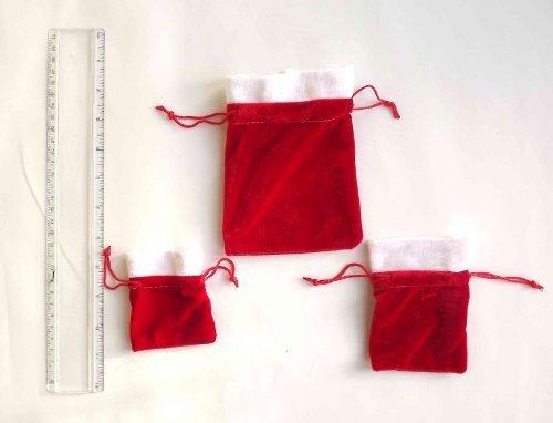 Shropshire Supplies Lot de 2 bijoux de style Père Noël en velours rouge avec cordon Cadeau Sacs, rouge, 7 x 7cm