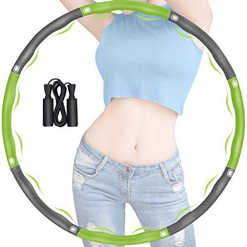 Hoola Hoop zur Gewichtsreduktion, 8 Abschnitte Abnehmbarer Hoola Hoop Reifen Geeignet mit Seilspringen, Einstellbares Gewicht 19-35 in Gewichten beschwerter Hoola-Hoop-Reifen für Fitness (Grün + Grau)