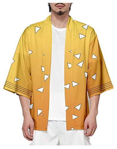 Silver Basic Kimetsu No Yaiba Unisex Anime Cardigan Kimono Costume Demon Slayer Camicia,Giallo-5,XXS…