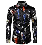 SHIEWDWE Camisa de seda impresa para hombre con tinta de salpicadura para hombre, para fiesta, casual, ajuste delgado, Como se muestra en la imagen., XL